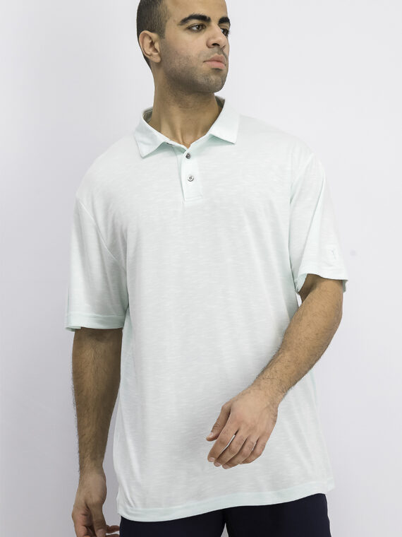 Mens Textured Golf Polo Limpet Shell