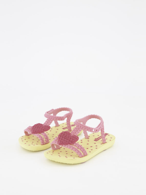 My First Baby Heart Print Sandals Yellow/Pink