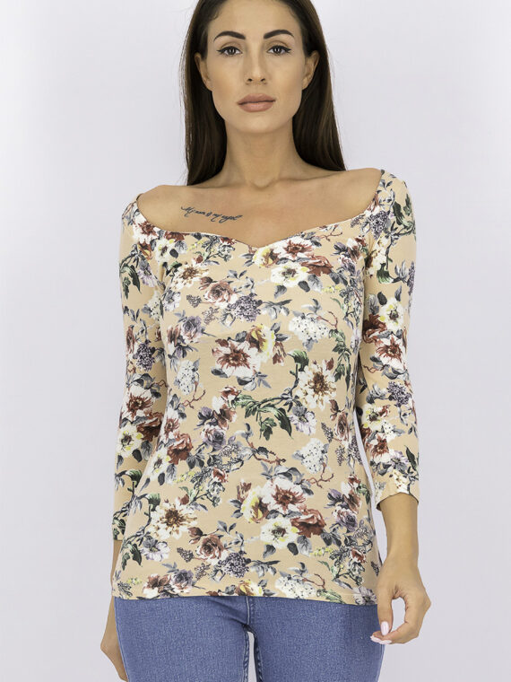 Womens Boat Neck Floral Top Peach Combo